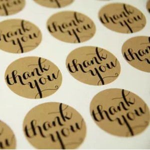 Free Shipping 1000Pcs Lot Diameter 3.8cm Candy Cake Party Paper Tag Kraft Seal Label Sticker 'Thank You' Circle Point Sticker