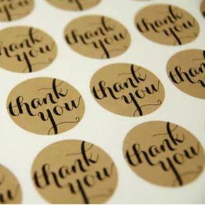 Бесплатная доставка 1000шт / Lot Диаметр 3.8cm Candy торт партия бумага Tag Крафт Печать этикетка наклейка «Спасибо» Circle точка Наклейки
