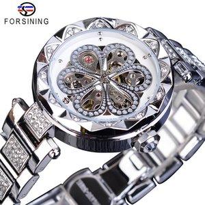 Forsining Moda Bayan Saatler Mekanik Otomatik Kadın Saatler Top Marka Lüks Elmas Su geçirmez Paslanmaz Çelik Saat