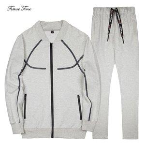 Homens Suit Primavera New Suit Tamanho Casual Além disso masculino ao ar livre maciça e constante Sportswear Baseball Zipper Moletons Calças WY165