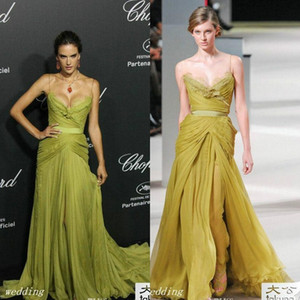 2020 الزيتون Alessandra Ambrosio Elie Saab Evening Dress Sex Sexy Spaghety Brid Long Celebrity Wear Special Occasion Dress Party Gowns