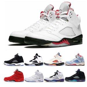 Nike Air Jordan Retro 5 5s Yeni varış 5 5 s erkek basketbol ayakkabıları ULUSLARARASI UÇUŞ Uçuş Suit Beyaz Çimento Siyah Üzüm erkekler eğitmen spor sneaker boyutu 8-13