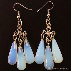Ein Paar 6 Stück 29x10mm schöne Opal Opalite Teardrop Ohrringe Gesamtlänge: 72mm