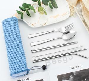 6pcs tavola dell'acciaio inossidabile Kit Outdoor viaggio di posate portatile con cannucce forcella delle bacchette della paletta posate da tavola Set aC BH2756