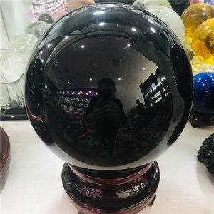 50-200mm Natural Black Obsidian Sphere Large Crystal Ball Healing Stone+pedestal T200117