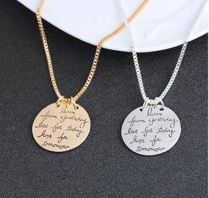 Новая мода ювелирные изделия Learn From Yesterday Live For Сегодня Надежда На Завтра Письмо ожерелье подарок для женщин 2 цвета