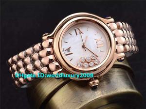 Swiss Jewel Happy Sport Media signora vigilanza oro rosa 18 carati 36 millimetri Bianco madre-perla Diamond Dial Orologi da donna Designer