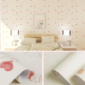 Waterproof Wallpaper Self-Adhesive Pink Fresh And Warm Girl Bedroom Dormitory Self-Adhesive Wall Sticker Drawer Paper