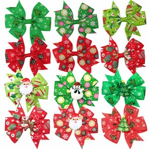 Bebek Kız Noel Tokalarım 3.3 İnç Karikatür Baskılı Noel Saç Klipler kız Sevimli Bow Şapkalar Kız Yılbaşı Hediyeleri 07