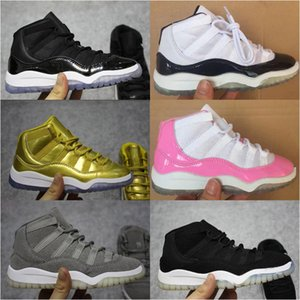 Kids 11 Space Jam Bred Concords Youth Boys Basketball Shoes Sneakers Children Boy Girl Kid 11s White Pink Gray Suede Toddlers