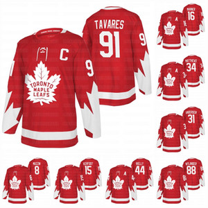 34 Auston Matthews Toronto Maple Leafs 2020 Alternatif Kırmızı John Tavares Mitch Marner William Nylander Frederik Andersen Rielly Kerfoot Jersey
