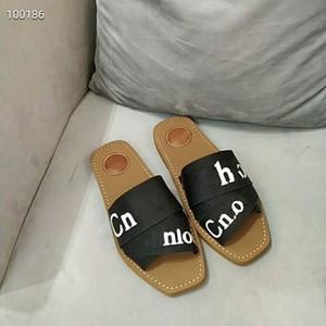 Новой Фирменных Женщины Вуди Мулы Fflat Трусы Deisgner Lady маркировочной Ткань Открытой Кожа Подошва Slide Sandal