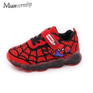 Mumoresip Человек-Паук Детская Обувь Для Малышей Большие Мальчики Спортивные Кроссовки Со Светодиодной Подсветкой Повседневная Обувь Для Бега Для Детей Y190525