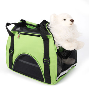 New Green S Size Collapsible Pet Handbag Stripe Round Dot Pattern Dog Carrier Ventilation Puppy Bag For Outdoor Travel Single Shoulder