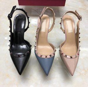 classics women brand high heels shoes rivets sandals patent leather rivets women shoes pointed toe big size 34-43 v logo box