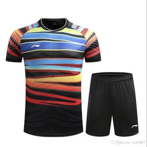 Li Ning 2017 erkek badminton sportwear tişört, rekabet giysiler, astar badminton takım elbise gömlek + şort, masa tenisi forması