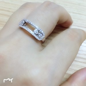 Kadınların 925 ayar gümüş takı için Köpüklü CZ zirkon kristal elmas yüzük moda üç taş hareketli parmak yüzük Slayt Taş hareket Halkalar