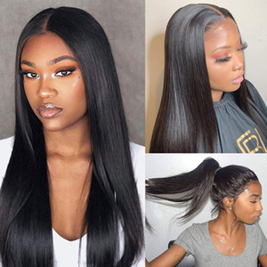 Kadınlar Brizilian için 13x4 Dantel Ön İnsan Saç Peruk Bebek Saç Doğal Saç Çizgisi 26 İnç güneşli güzellik tüyleri Düz Saç Peruk