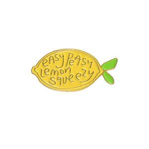 Cute Lemon Fruit Brooch Easy Peasy Lemon Squeezy Little Hard Enamel Pin Touch Up Subscription Box Decor Jacket Denim Cloth Handbag Accessory