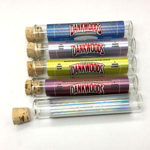 Vuoto e-cig Packaging DANKWOODS Empty Glass Tubes Legno Sughero Consigli cartucce a secco di erba con pre-roll con adesivi 1 lotto = 250pcs bottiglia