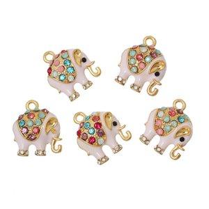 """Vente en gros pendentifs de charme DoreenBeads éléphant plaqué or rose strass multicolore émail 18mm (6/8 """") x 15mm (5/8""""), 5 PC"""