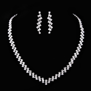 Beauty Silver Bridal Jewelry 2 Pieces Sets Necklace Earrings Bridal Jewelry Bridal Accessories Wedding Jewelry T216075