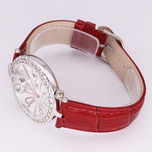 Royal Crown Luxury Lady Женские часы Мода Кристалл Часы платье кожа Часы браслет Rhinestone девушки день рождения Подарочная коробка