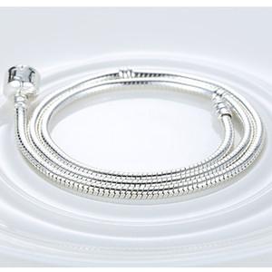 Venta al por mayor cadena de plata 925 joyería original amantes de la joyería 45 CM 925 encanto de plata esterlina collar de serpiente Fit Pandora bricolaje cadena de la serpiente