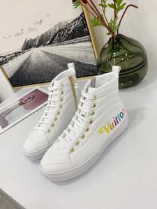 la lastest Luxuryoss27 cuero auténtico zapatillas de deporte de moda los zapatos casuales de alta superior zapatos de las mujeres botas de entrenadores color mezclado