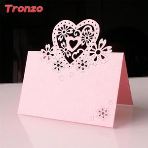 Tronzo 10pcs Laser Cut Love Heart Table Cards Wedding Party Favors Decoration Paper Vine Seat Cards Name Place