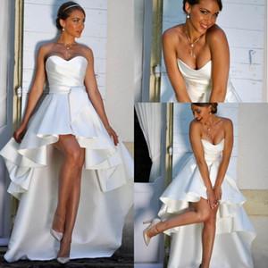 2019 Beach High Low Satin A Line Свадебные платья Милая Ruched молния назад летние свадебные платья для невесты
