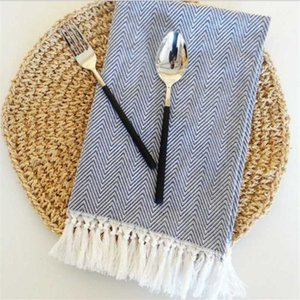 Hand-made Tassel Napkin Cotton Yarn Dyed Dish Towel Towel Dishtowel Kitchen Cleaning Cloth