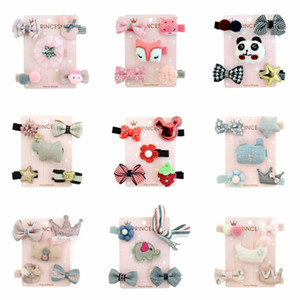 5Pcs Set 5 Colors Children Baby Girl Toddler Cute Hair Clip Bow Flower Mini Barrettes Party Star Kids Hairpins