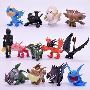 الشحن المجاني 7/8 / 13pcs / set 5-7cm How To Train Your Dragon 2 Night Fury Totless Dragon PVC Action Figures Christmas Gifts Y200421