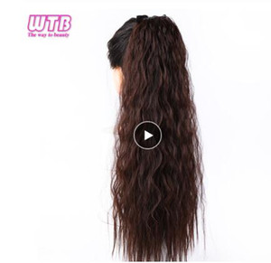 22inches Long Corn Curly Gefälschte Haarteile Drawstring Ponytail Extensions für Frauen Synthetic High Temperature Fiber Clip in Haarverlängerungen