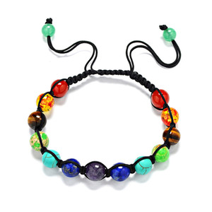 7 Chakras Stretch-Armband-Charme-Anhänger wulstige Energy Healing Meditation Yoga Reiki Stein Perlen Armband