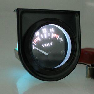 Universal Car 8-16V voltímetro Volt bitola métrica 52 milímetros Preto