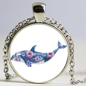 New Design Underwater World Cute Dolphins Pattern Glass Dome Cabochon Silver Plated Necklace Jewelry Diving Enthusiasts
