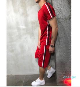 Мужчины Лето Короткие Slevve Tracksuit 2PC Спортивный костюм с коротким рукавом Футболка + шорты из двух частей хип-хоп Спортивные шорты футболки для мужчин Набор XM01