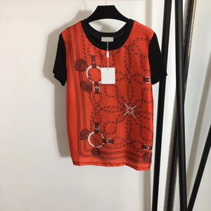 4.20 2020 New Women Classic Print Pattern Silk Patchwork Knitted Short Sleeve T-shirt