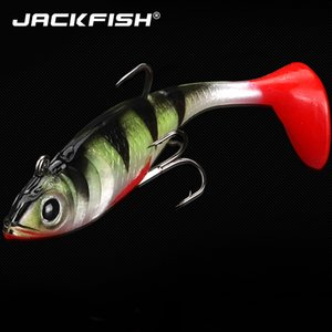 JACKFISH Whopper Popper 8cm 11G Topwater Fishing Lure Artificial Bait Soft Plopper Soft Rotating Tail Fishing Tackle Geer T191016