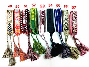 La main d'amitié Bracelets avec broderie lettres personnalisées et réglable Cotten Strings Designer D Style de gros Dropshipping