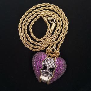 Nouveau mode 18K Hip Hop chaîne personnalisée Skeleton coeur brisé collier coloré Glacé pourpre cz Zircon pour hommes et femmes