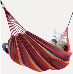 2020 Hanging Hammock 200*80cm Hamac Outdoor Leisure Bed Hanging Bed Double Sleeping Canvas Swing Hammock Camping Hunting With Backpack #XF62