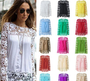 7XL Plus Size Spring Summer Solid Color Blouses Women Shirts Chiffon Flower Hollow Out Shirt Casual Long Sleeve Ladies Tops