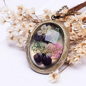 2020 Real сухих цветов Медальон Кулон Ожерелье Vintage античная бронза покрыло Длинные цепи стекла ожерелья для женщин Подарок