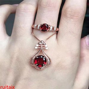 KJJEAXCMY бутик драгоценных камней 925 чистого серебра инкрустированные природный гранат ожерелье кольцо 2 части jewelry.asdf