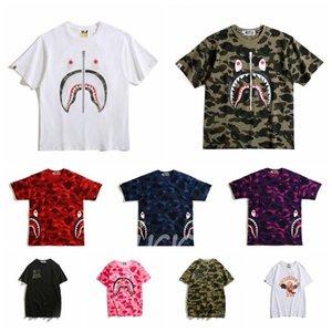 2020 una cabeza grande baño mono de la moda de verano vendedor caliente de Japón del tiburón del estilo popular de la impresión del camuflaje de cuello redondo suéter de gran tamaño M-XXL # 85e85