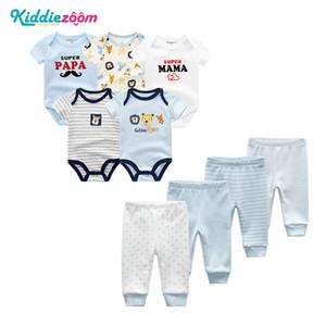 Kiddiezoom 9PCS / LOT Designer Nouveau-né bébé garçon Vêtements Ensembles bébé bébé garçons Vêtements pour les filles Vêtements imprimés Bodys Cartoon