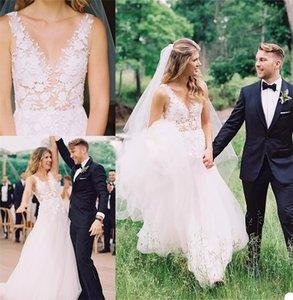 Cheap Boho A Line Wedding Dresses Sexy Sheer V-neck Sleeveless Appliqued Lace Wedding Gown Beach Sweep Train Custom Made Vestidos De Novia
